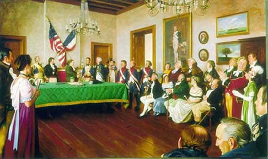 Ceremonial transfer of the Louisiana Purchase in New Orleans, 1803. (Painting by Mike Wimmer for The Oklahoma State Senate Historical Preservation Fund.)
