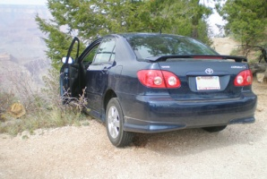 Sgt. Travis Twiggs' car, abandoned at a Grand Canyon overlook after an attempt to drive over the rim into the canyon.