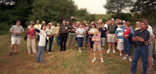 Sara Beanlands leads Thibodeau(x) family members on a tour of Willow Brook Farm. (Photo by Ron Thibodeaux)